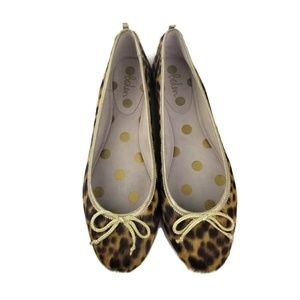 Boden Leopard Print Pony Hair Gold Bow Flat Shoes